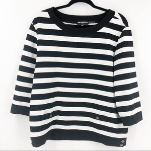 Karl Lagerfeld Black and White Striped Top Large
